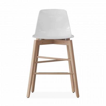 Sgabello in Legno Rovere e Seduta Laccata Bianca di Design Moderno - Langoustine