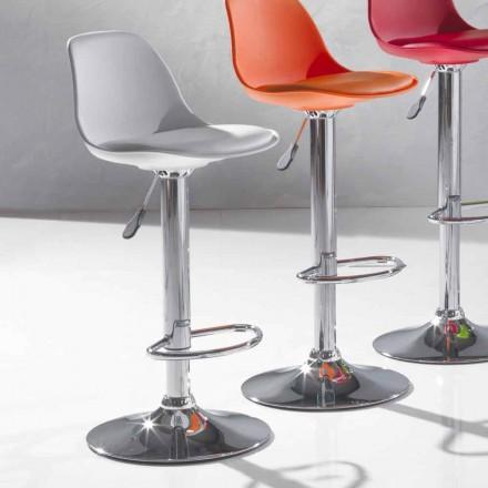 Sgabello Alzabile in Ecopelle dal Design Moderno - Rosa