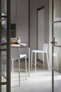 Sgabello Moderno da Bar o da Cucina in Metallo e Cuoio Rigenerato – Boheme