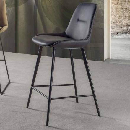 Sgabello Moderno H 80 cm, Seduta in Ecopelle Nabuk - Ines