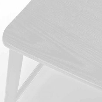 Sgabello Moderno in Metallo con Seduta e Schienale in Legno, 2 Pezzi - Habibi