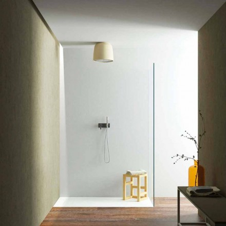 Soffione doccia a soffitto tondo di design in Luxolid made Italy, Ruda