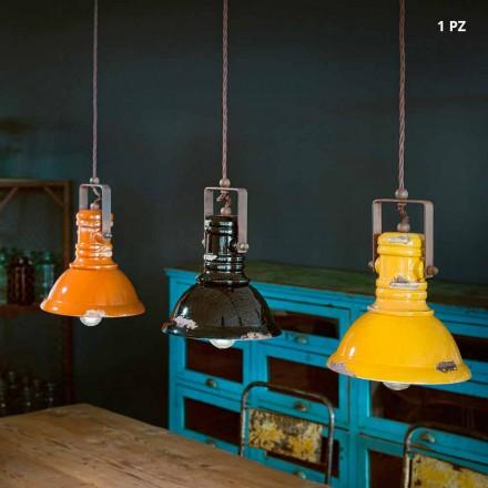 Sospensione a campana industriale in ceramica e metallo Ruth