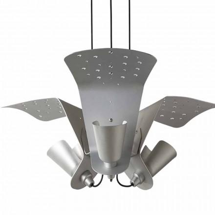 Sospensione con tre lampade di design in metallo Tractor - Toscot