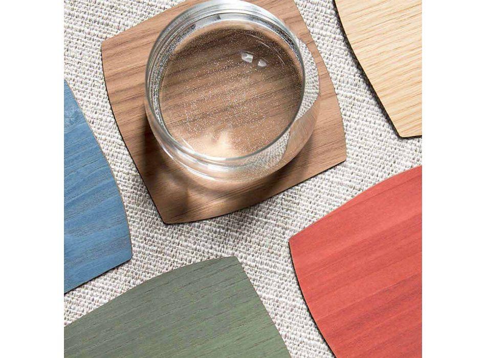 Sottobicchiere Moderno Quadrato in Legno Made in Italy - Abramo