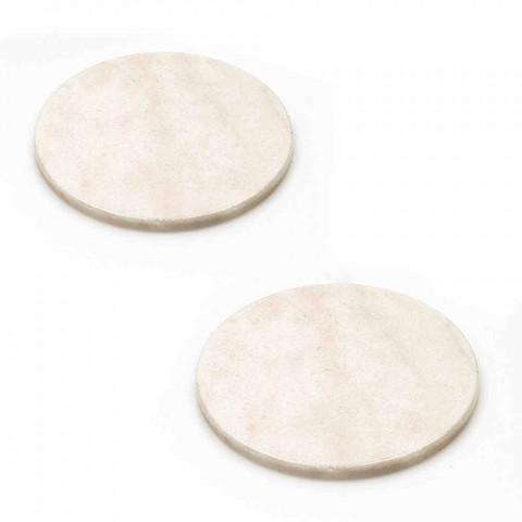 Sottobicchieri moderni in Marmo Colorato Made in Italy, 2 Pezzi - Nessa