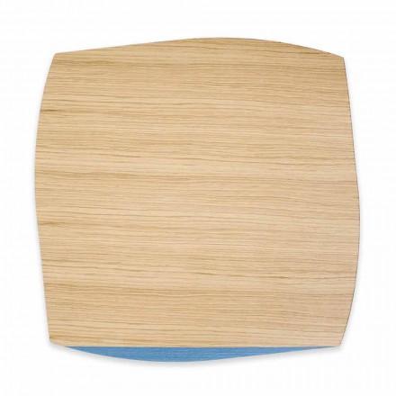 Sottopiatto Moderno Quadrato in Legno Rovere Made in Italy, 4 Pezzi - Abramo