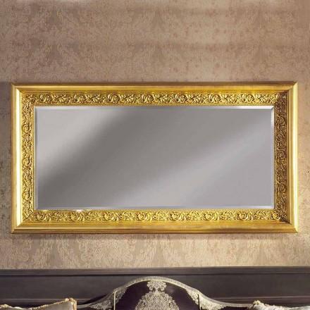 Specchiera a Muro in Legno Rettangolare Barocco Fatta a Mano in Italia - Enrico