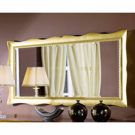 Specchiera a muro fatta a mano legno oro o argento made in Italy Luigi