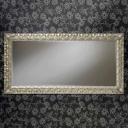 Specchiera a muro in legno rettangolare fatta a mano in Italia Nicolò