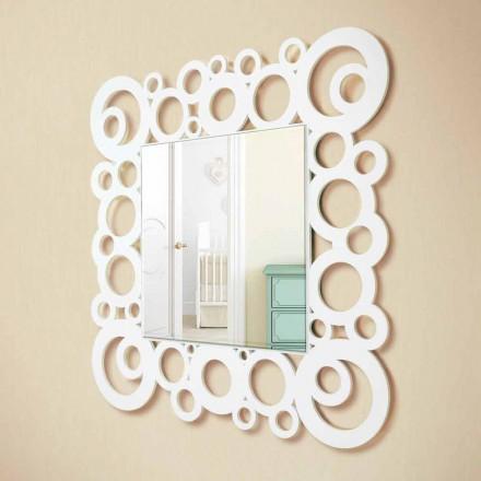 Specchiera a Muro Quadrata Bianca Design Moderno con Decori in Legno - Bubble