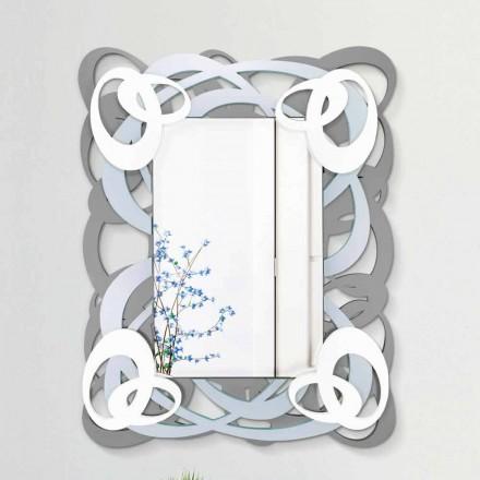 Specchiera a Parete Rettangolare Colorata in Legno di Design Moderno - Amalga
