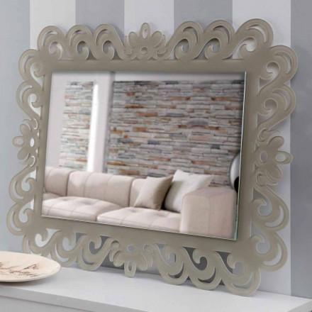 Specchiera a Parete Rettangolare di Design Moderno in Plexiglass Tortora - Selly
