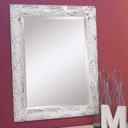 Specchiera da muro oro,bianco,argento in legno made in Italy Eugenio
