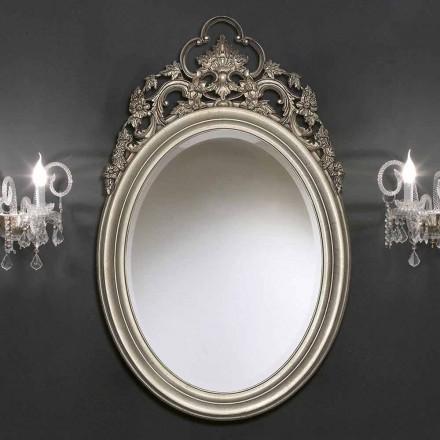 Specchiera da Parete Ovale Stile Barocco Fatta a Mano in Italia - Giorgio