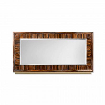 Specchiera da parete bisellata in ebano lucido e metallo Ada 1