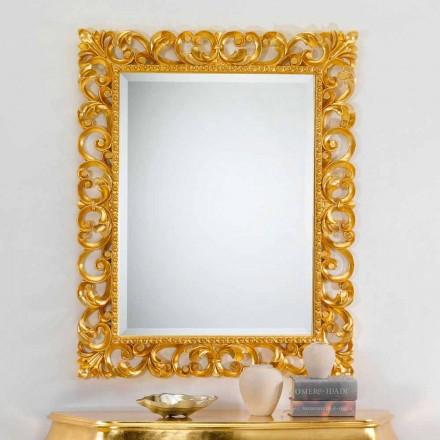 Specchiera da parete design classico con finitura foglia oro Paris