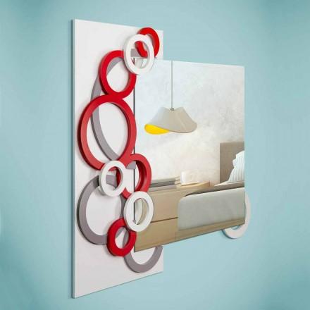 Specchiera da Parete Design Moderno Bianco Rosso Grigio in Legno - Illusion