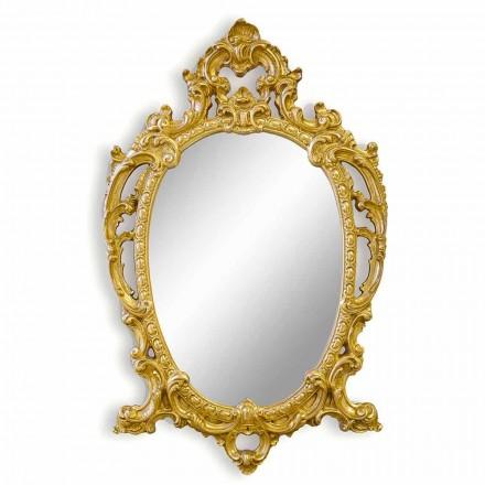 Specchiera da Parete Ovale in Legno Barocco Fatta a Mano in Italia - Roberto