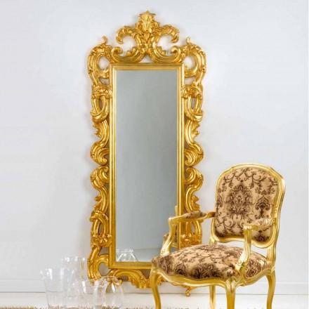 Specchiera da terra / muro design classico, finitura foglia oro Guerin