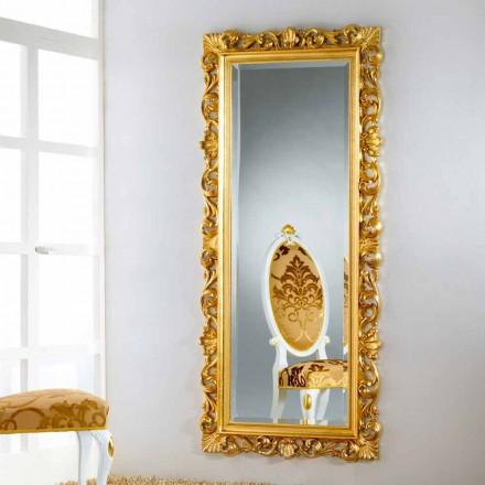 Specchiera da terra/ parete di design con finitura foglia oro Mata