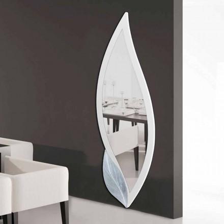 Specchiera di design a forma di petalo avorio e argento Ellen