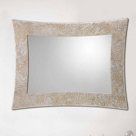 Specchiera di design da parete in resina e foglia argento Venezia