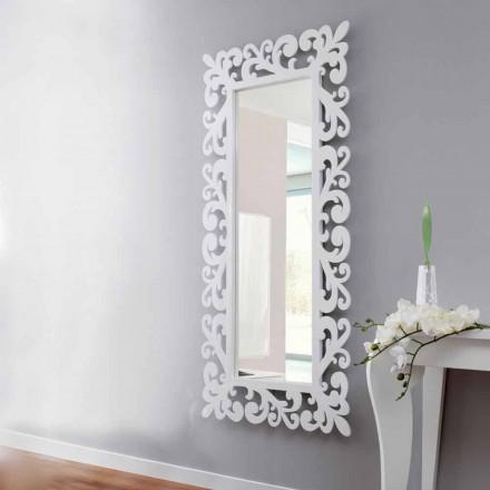 Specchiera Grande a Parete Design Rettangolare in Legno Bianco Moderno - Cortese