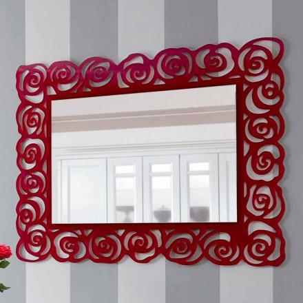 Specchiera Grande a Parete Moderna di Design in Plexiglass Rosso - Rosalinda