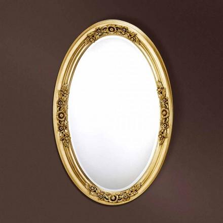 Specchiera moderna ovale legno realizzata a mano in Italia Federico