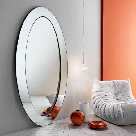 Specchiera Ovale da Terra Moderna con Cornice Inclinata Made in Italy – Salamina