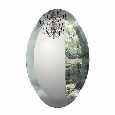 Specchiera da Parete Ovale in Cristallo Vetro Ondulato Made in Italy - Eclisse