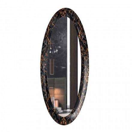 Specchiera Ovale Lunga da Parete Cornice Effetto Marmo Made in Italy – Denisse