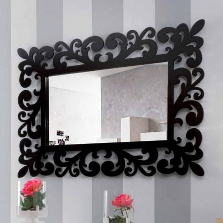 Specchiera Rettangolare da Muro dal Design Grande Moderna in Legno Nero - Manola