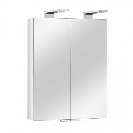 Specchio a 2 Ante con Contenitore in Alluminio Argento e Dettagli Cromati - Maxi