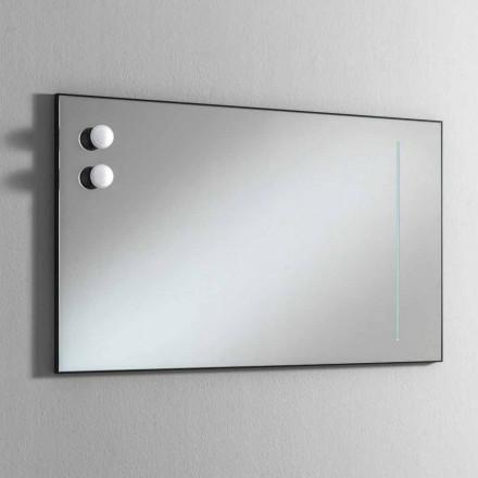 Specchio Bagno da Muro con 2 Lampadine e Telaio Nero Made in Italy - Frame