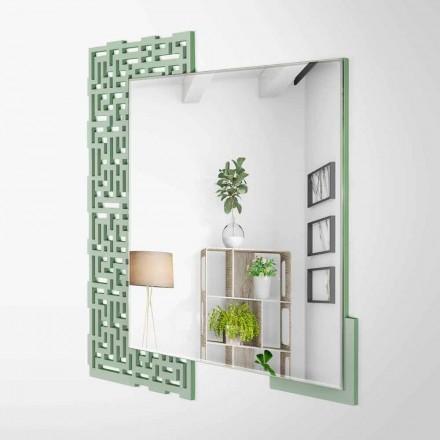 Specchio a Muro Design Quadrato Moderno in Legno Verde Decorato - Labirinto