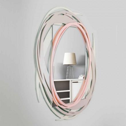 Specchio a Muro Moderno dal Design Decorativo in Legno Colorato - Orbita