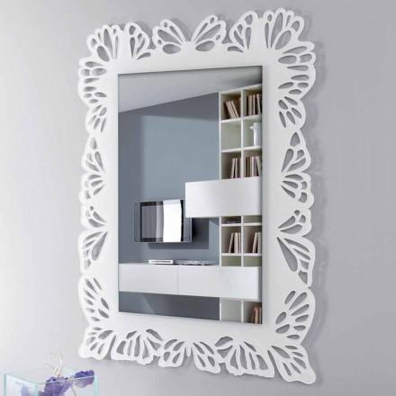 Specchio a Muro Plexiglass Bianco con Cornice Rettangolare Decorata - Alidifarf