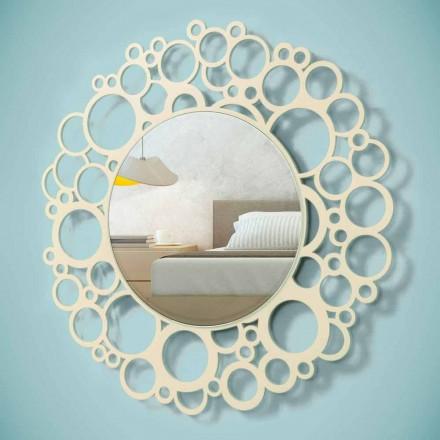 Specchio a Muro Rotondo in Legno Marrone di Design Moderno con Cornice - Bombo
