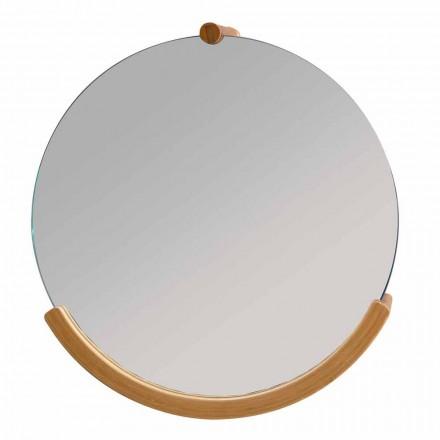 Specchio a parete da bagno di design con cornice in bamboo Gorizia