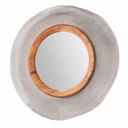 Specchio circolare da parete moderno in metallo e teak Monno