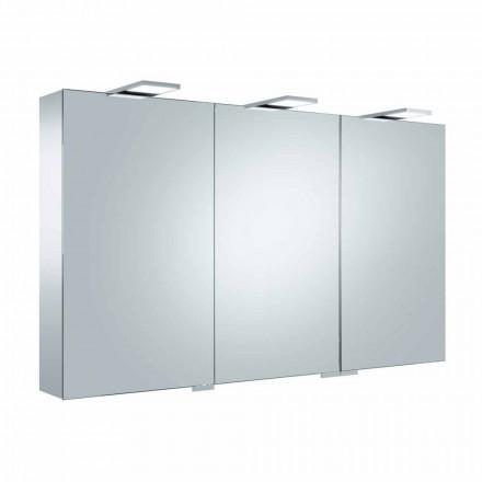 Specchio Contenitore a 3 Ante con 9 Ripiani Interni e Illuminazione LED - Cricco