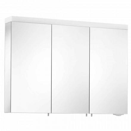 Specchio Contenitore a 3 Ante da Parete in Alluminio Verniciato Argento - Alfio