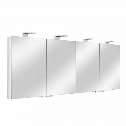 Specchio Contenitore a 4 Ante in Cristallo con 12 Ripiani e 4 Luci LED - Maxi
