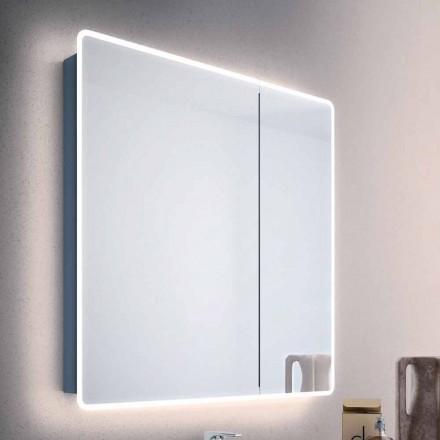 Specchio contenitore moderno a 2 ante da bagno, con luci LED,Valter