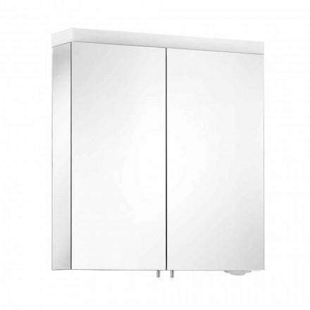 Specchio Contenitore con 2 Ante in Alluminio Verniciato Argento, Moderno Alfio