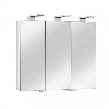 Specchio Contenitore con 3 Ante in Cristallo e 3 Luci LED, Pregiato - Maxi