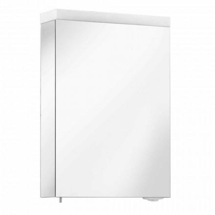 Specchio Contenitore con Anta Battente e Illuminazione LED, Alta Qualità - Alfio