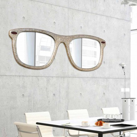 Specchio d'arredo da parete a forma di occhiale decorato a mano Glass